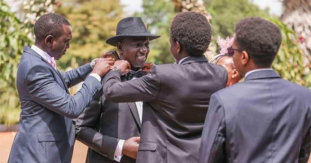 Photo of William Ruto's Sons Fixing Collars of His Shirt During June's Wedding Excites Netizens