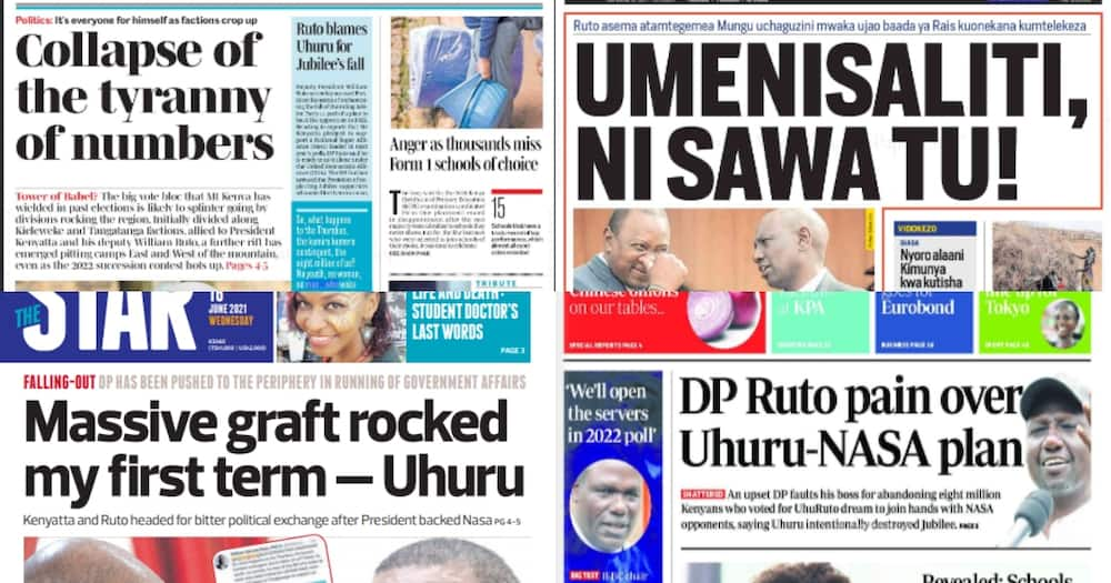 Newspapers Review for June 16: Ruto Accuses Uhuru of Wrecking Jubilee, Neglecting Supporters