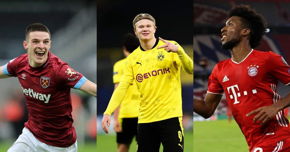 Declan Rice, Erling Haaland and Coman while in action for their respective clubs. Photos by Lars Baron, Marc Atkins and Alexander Hassenstein.