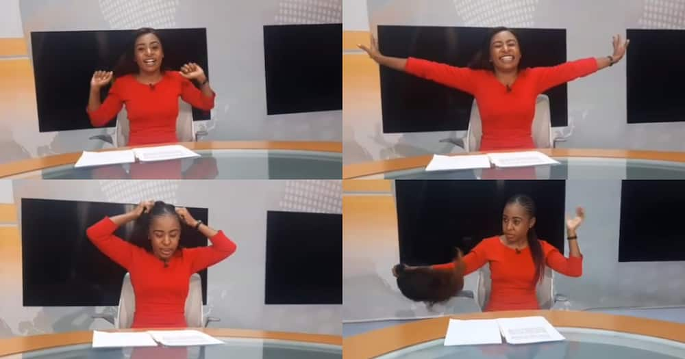 Mashirima Kapombe funnily yanks off wig in studio after presenting news