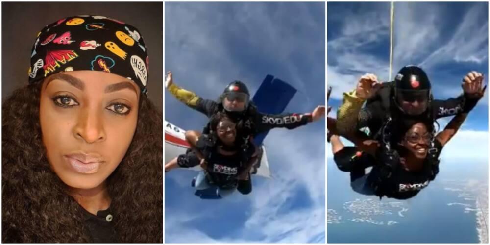 Nollywood actress Kate Henshaw skydives in Dubai (video)
