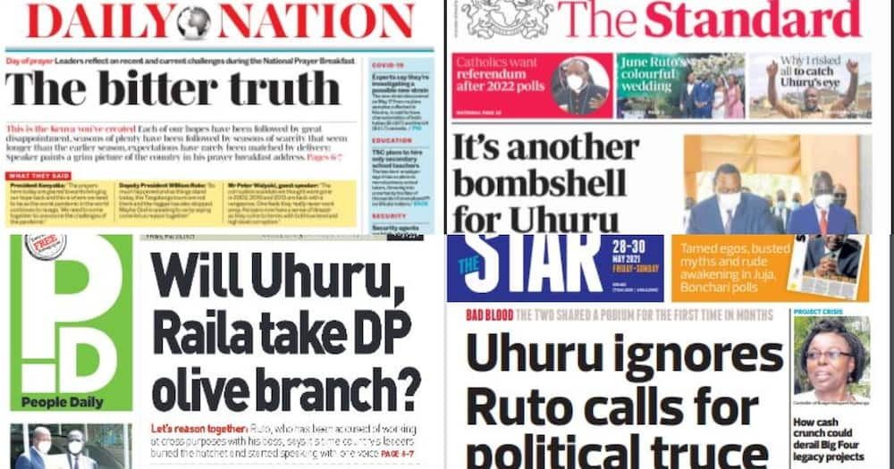 Newspapers Review for May 28: Ruto Extends Olive Branch to Uhuru, President Ignores Calls for Truce