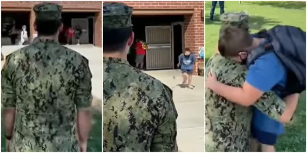 Little boy and his military officer brother