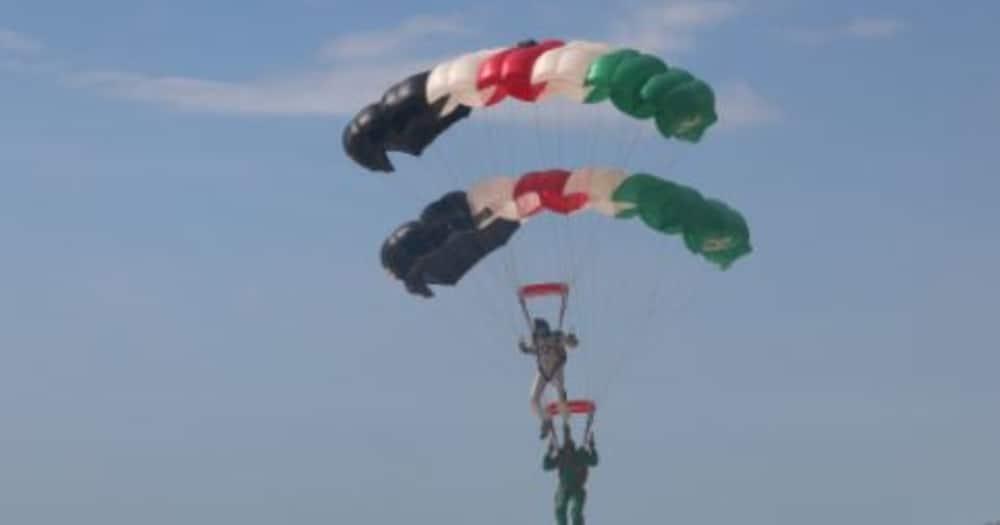 Madaraka Day: KDF Paratrooper Injured while Landing at Jomo Kenyatta Int'l Stadium