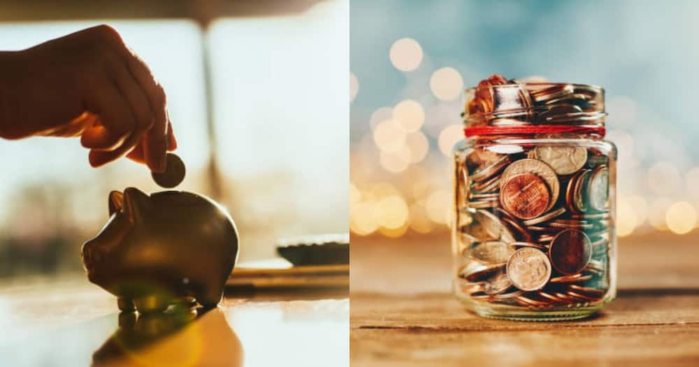 Saving culture for kids. Piggybank (L) and Jar full of coins (R)