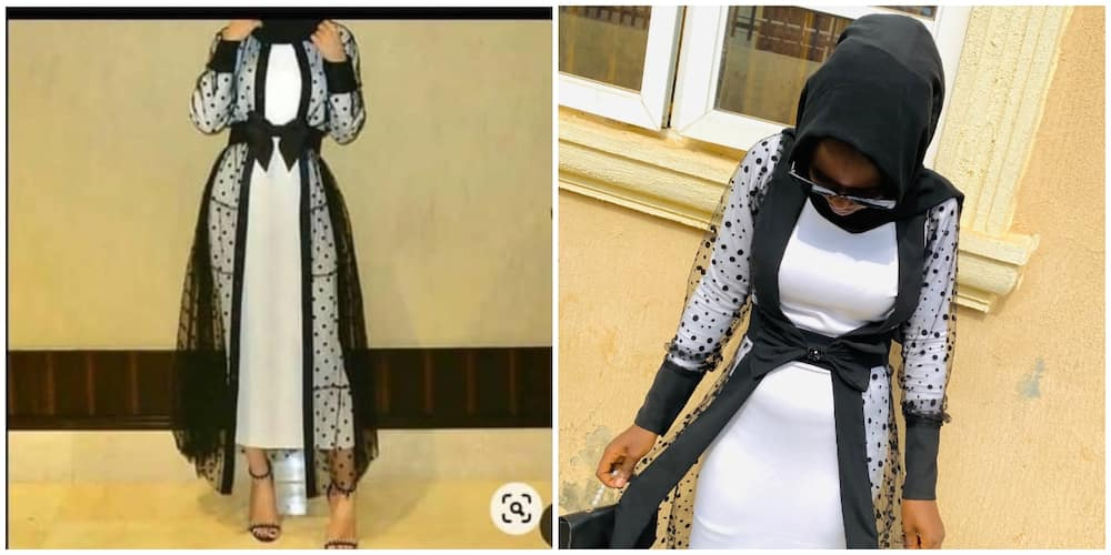 Nigerian lady shares cloth she saw vs what she sewed, many say the one she made herself was much better