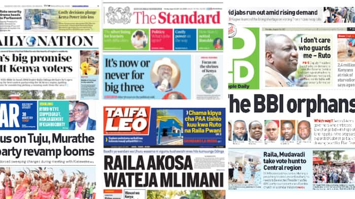 Kenyan Newspapers Review For August 30: Raila Odinga Goes Biblical, Draws His Promises For Mt Kenya residents From Jeremiah 29:11