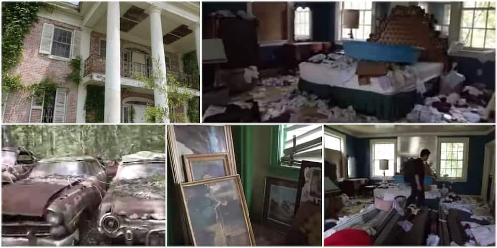 Reactions as man shares video of an old abandoned mansion he found somewhere that has 100s of cars and fine paintings in it.