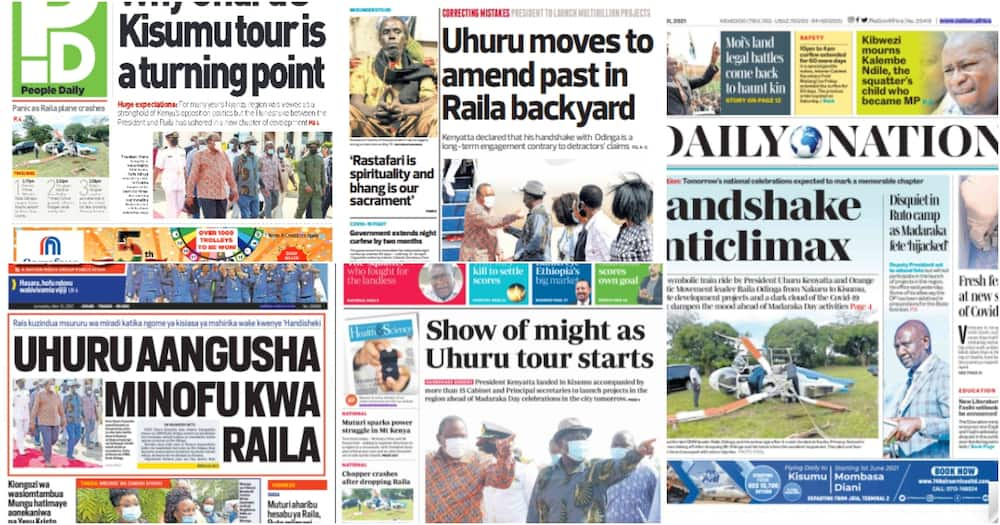 Magazeti Jumatatu, Mei 31: Rais Uhuru Atua Kisumu na Minofu
