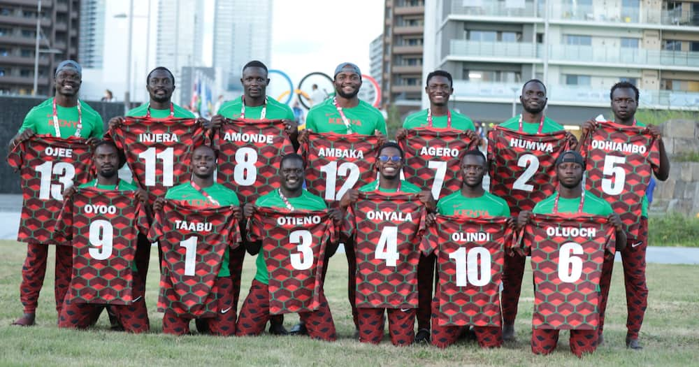 Kenya's Shujaa 7s team pose for a photo ahead of the 2020 Tokyo Olympics. Photo: Twitter/@Shujaa7s.