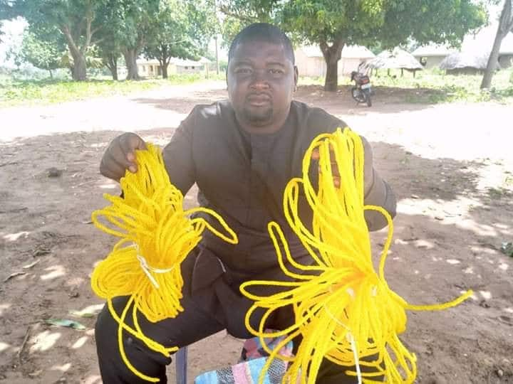 Politician donates ropes for tying goats to struggling citizens