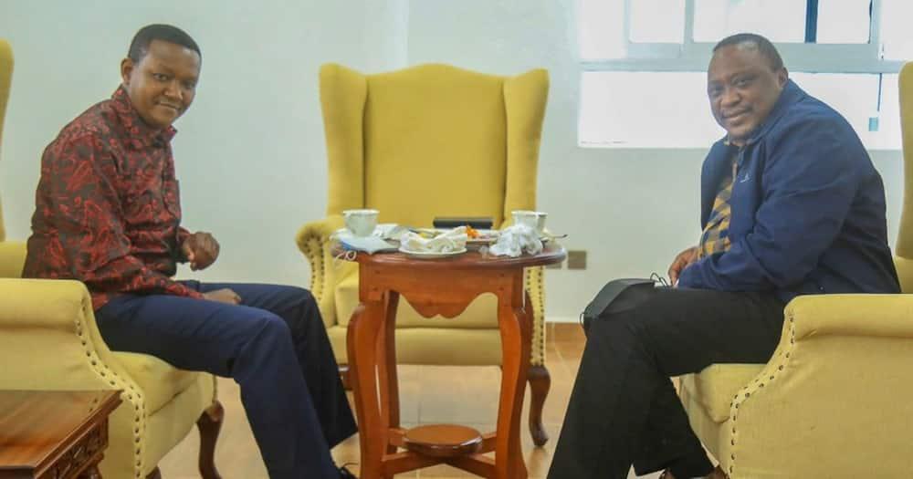 President Uhuru Kenyatta (right) when he was hosted by Machakos governor Mutua on Friday, July 9. Photo: Governor Alfred Mutua.