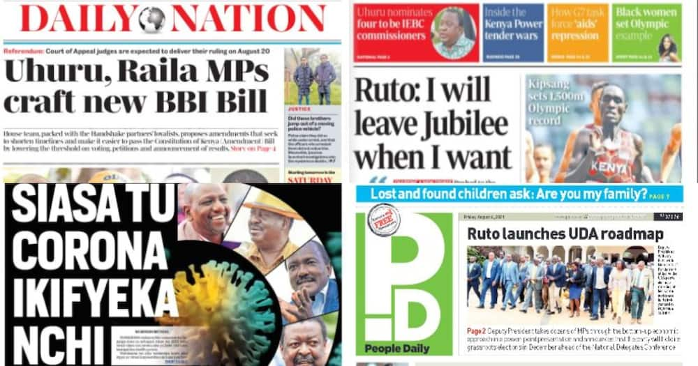 Kenyan Newspapers Review for Aug 6: William Ruto Says He Will Quit Gov't at Opportune Time