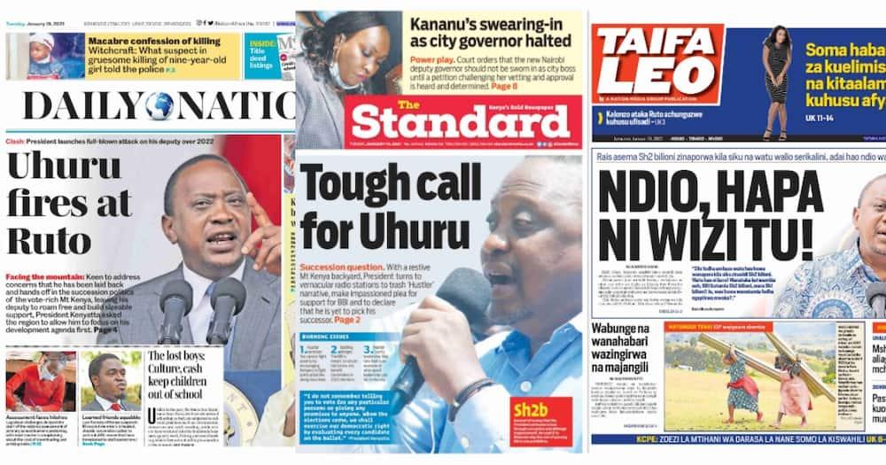 Newspapers review for January 19: Uhuru dismisses hustler-dynasty politics