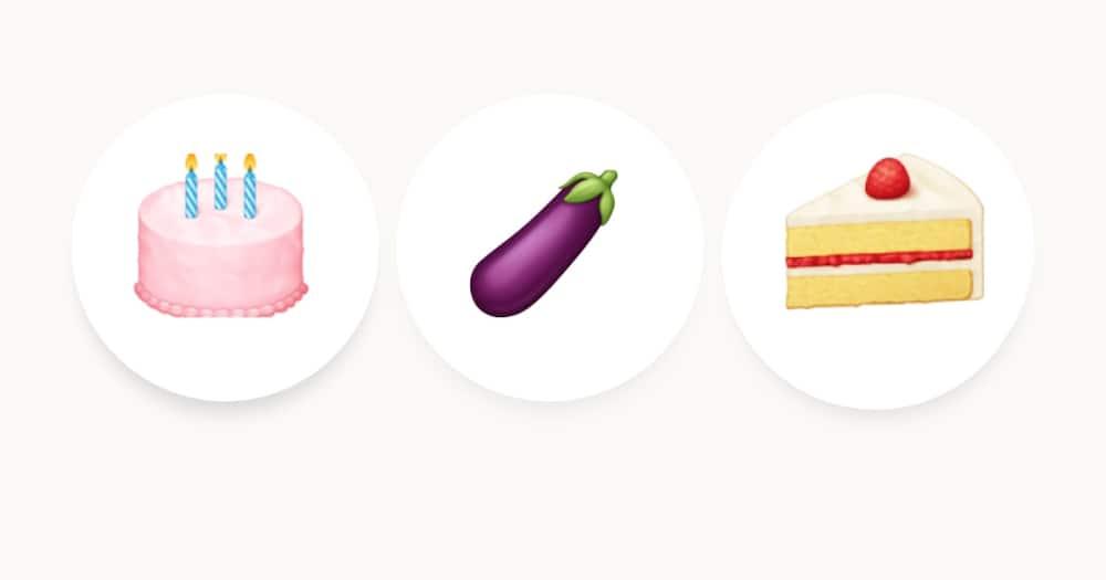 The eggplant, birthday cake and short cake are the most commonly used emojis in Kenya. Photo: Clare Wamalwa.
