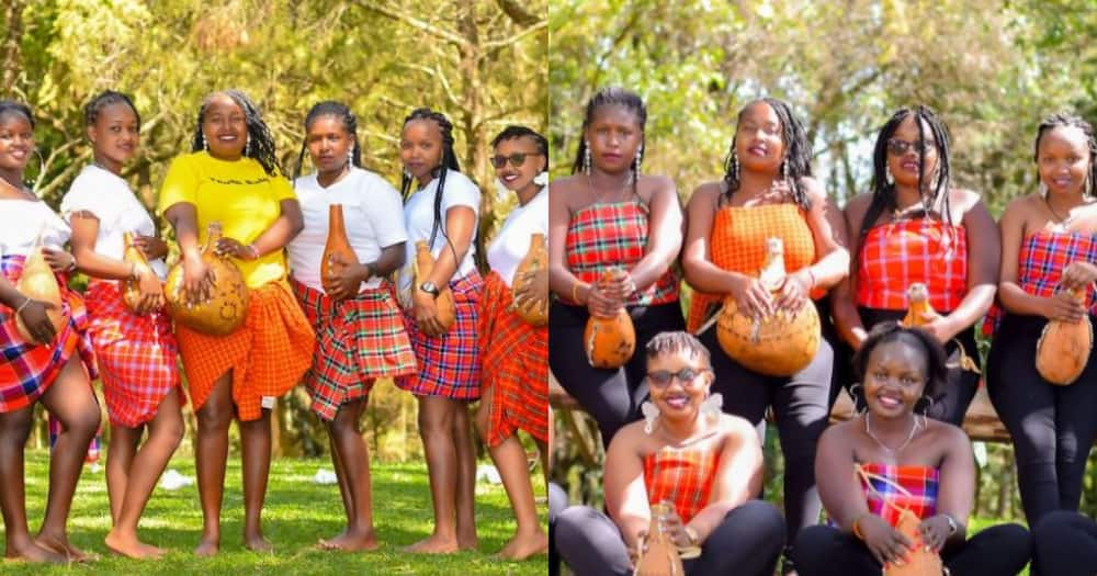 Bride Joy Kiprono and her team dressed in African outfits.