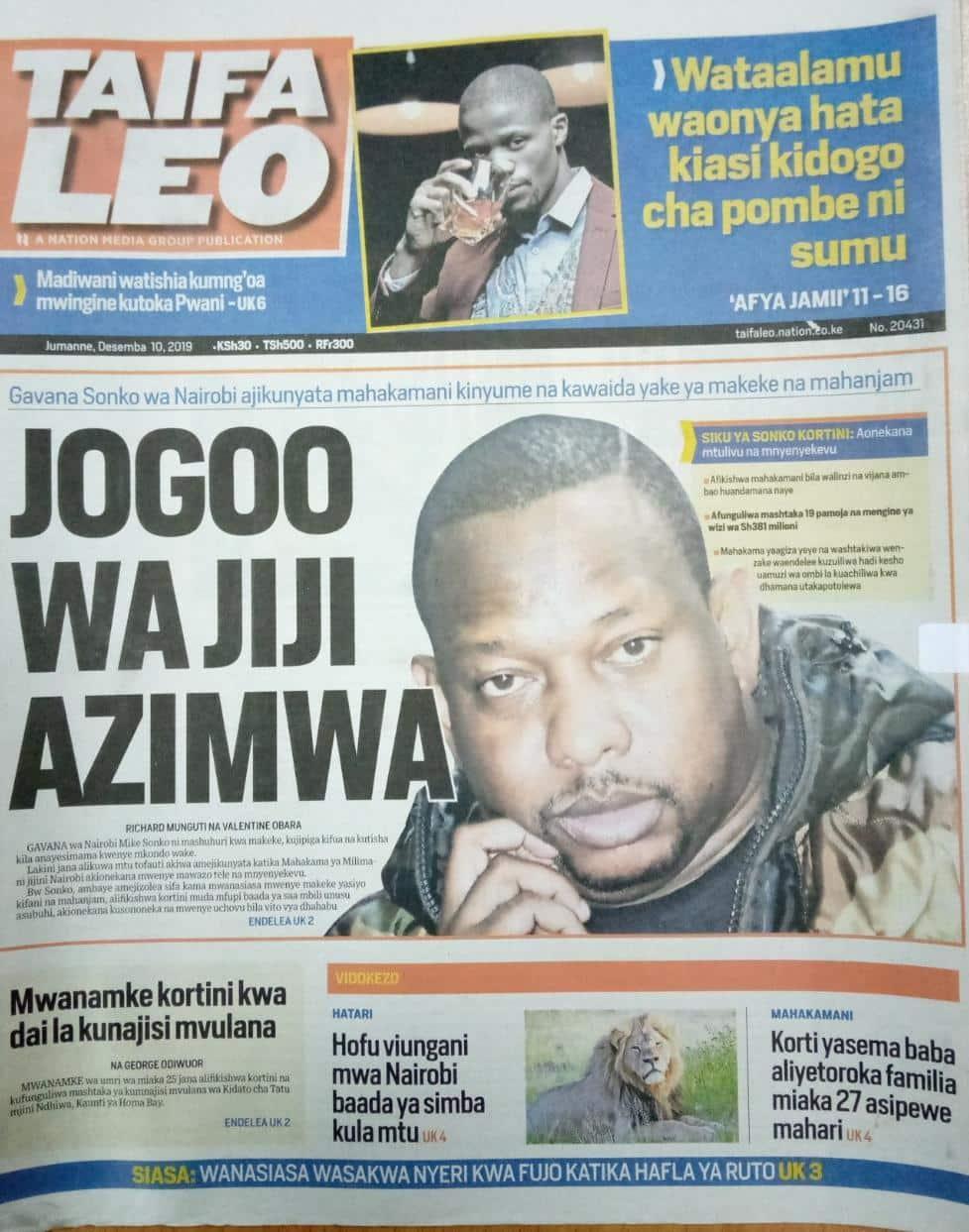 Magazeti ya Kenya Jumanne, Desemba 10