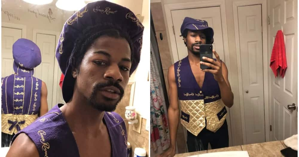 Man showcases outfit his auntie made him from shopping bags, netizens react