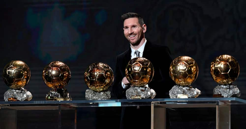 Lionel Messi (ARG / FC Barcelona) poses onstage after winning his sixth Ballon D'Or award during the Ballon D'Or Ceremony at Theatre Du Chatelet on December 02, 2019 in Paris, France. (Photo by Kristy Sparow/Getty Images)