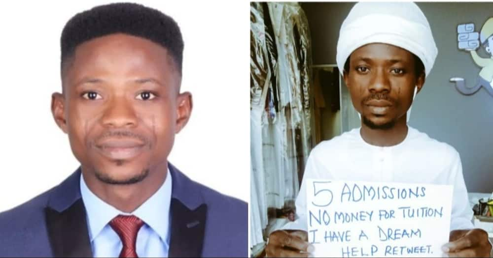 Nigerian Man with Masters and PhD Admissions Cries for help to further his Education, Carries Placard