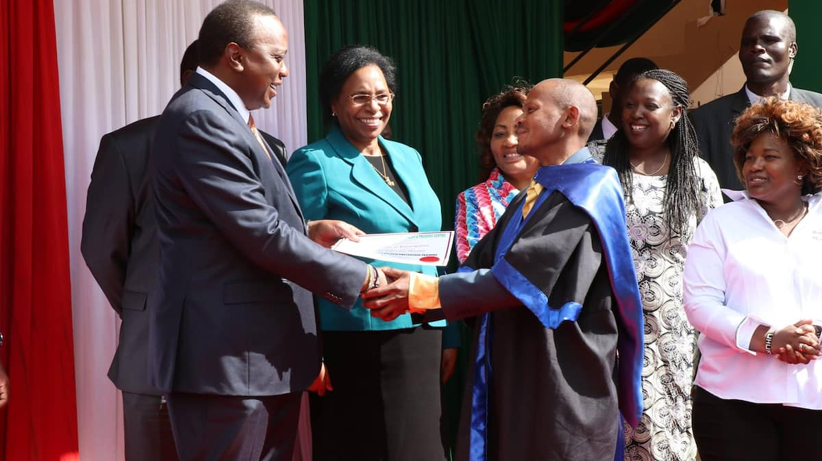 President Uhuru Kenyatta meets Githeri man again, awards him after completing rehabilitation