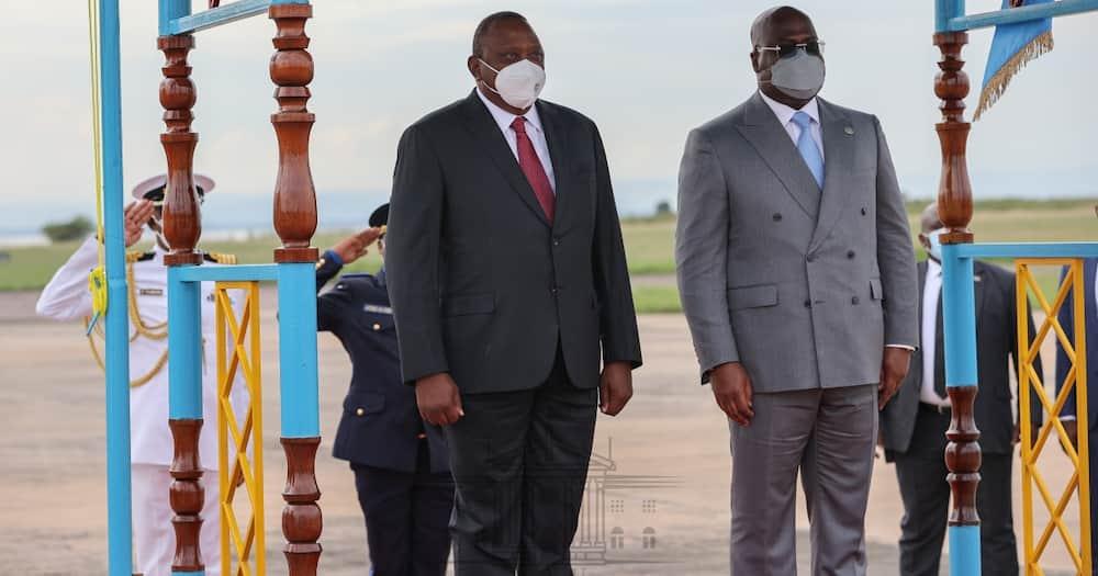 Presidents Uhuru Kenyatta (Kenya) and Felix Tshisekedi (DR Congo) at the N'Djili International Airport in Kinshasa at the start of the latter's three-day State visit on April 20, 2021. Photo: State House Kenya.
