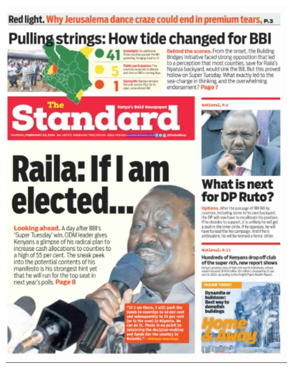 The Standard newspaper for February 25. Photo: UGC.