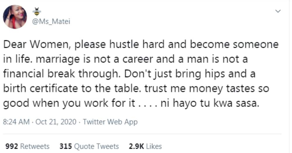 Lady urges women to work for their money, says marriage is not a career