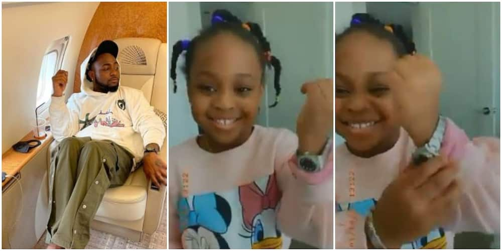 Davido's 3-year-old daughter shows off expensive Rolex wristwatch (video)
