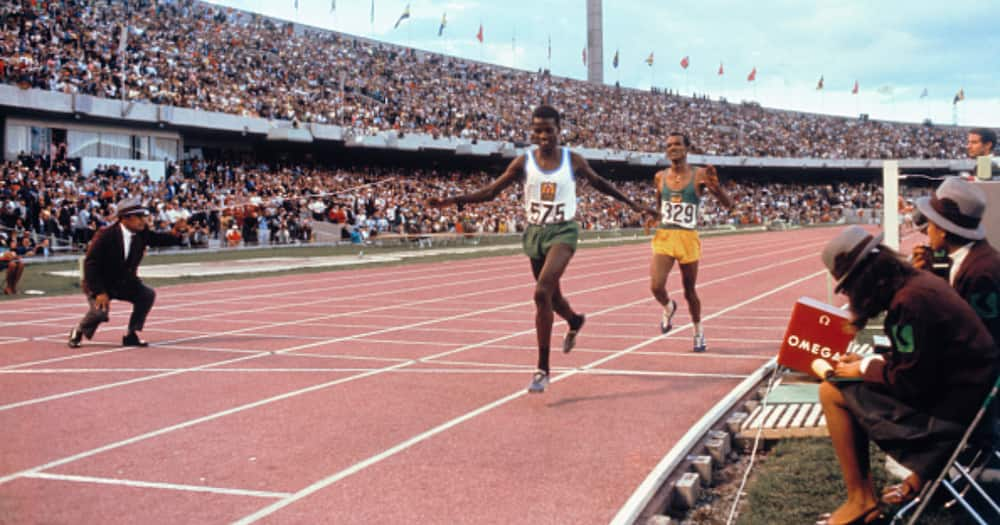 Naftali Temu of Kenya winning the 10,000 meter run for the Gold medal in the 1968 Olympics. Photo: Getty Images.