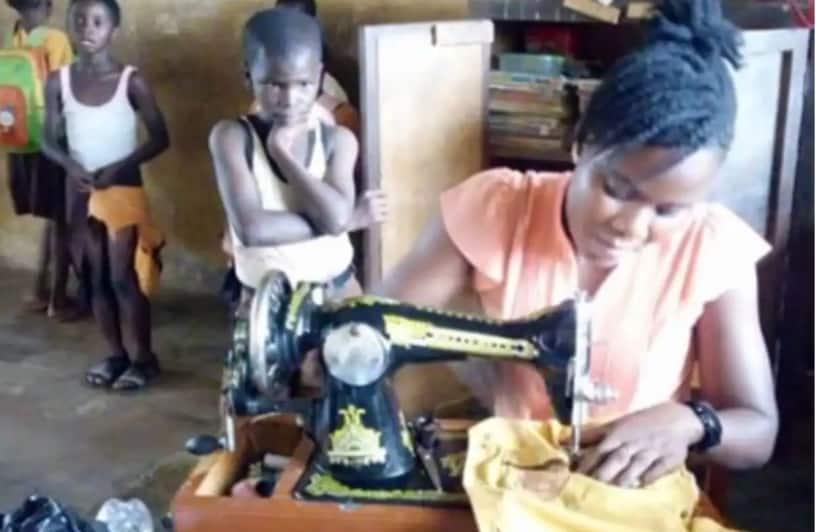 Meet female teacher who spends her school break sewing torn uniforms for pupils