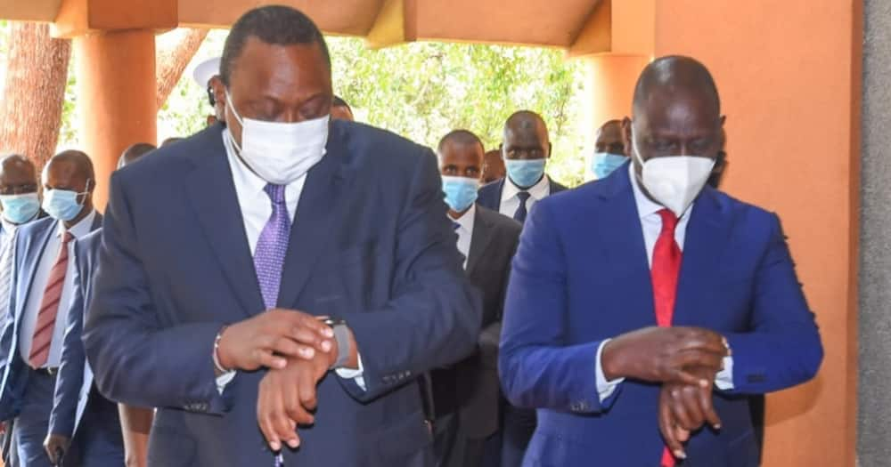 Uhuru (left) and his deputy William Ruto. The duo are not in good terms.