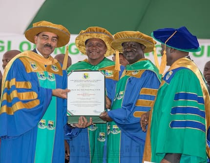 Uhuru, Raila handshake hands them honorary PhDs from Jaramogi University