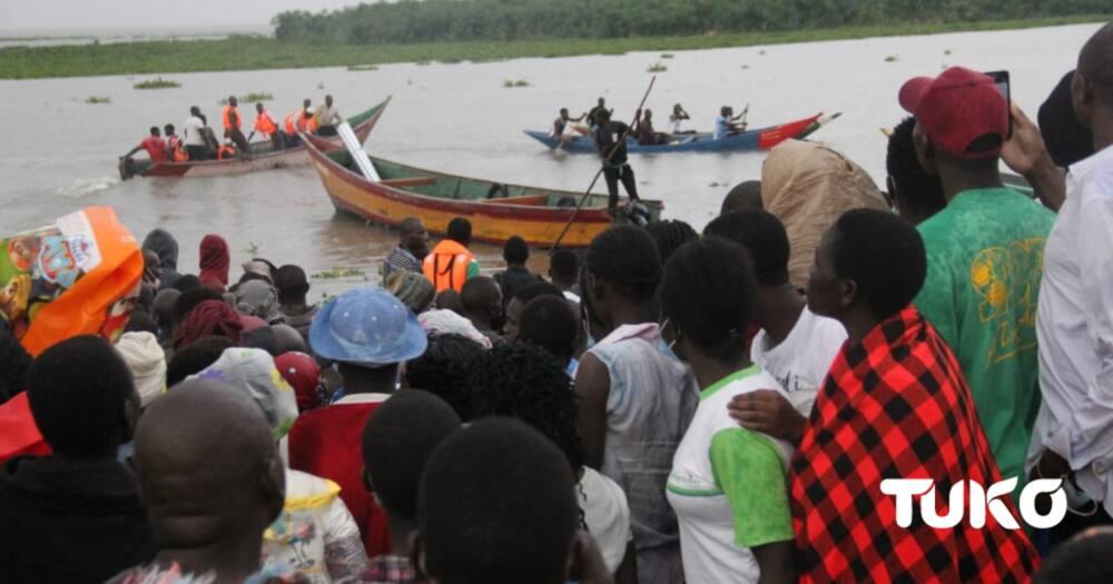 The Boat capsized in Lake victoria waters. Photo: Zabbibah Adhiambo TUKO correspodent.