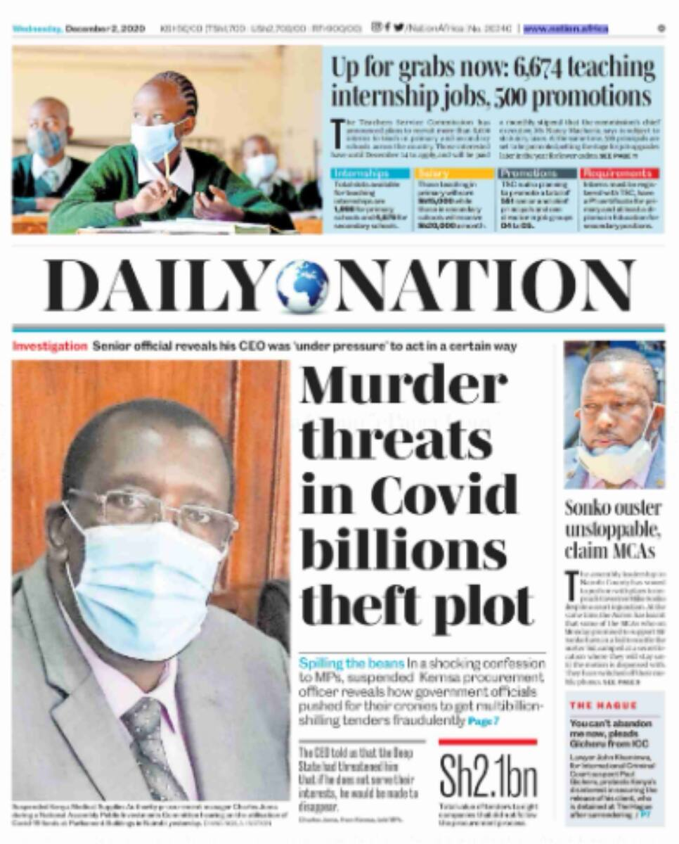 Kenyan newspapers review for December 2: KEMSA top officials name Senator Sakaja among COVID-19 millionaires