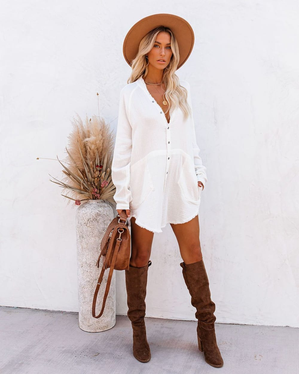 What to wear with brown knee-high boots