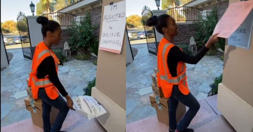 Kind delivery woman helps shopping enthusiast hide packages from hubby