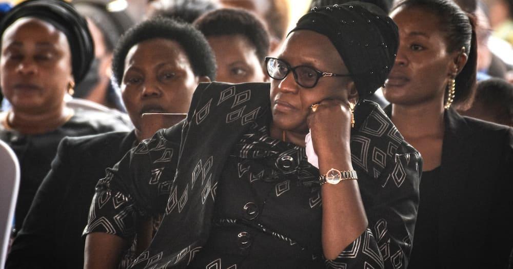 John Pombe Magufuli: Emotional Moment Janeth Magufuli Touches Coffin, Views Late Husband's Body
