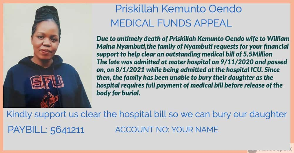 Kisii family seeks help to get relative's body detained at Mater Hospital over KSh 5.5m bill