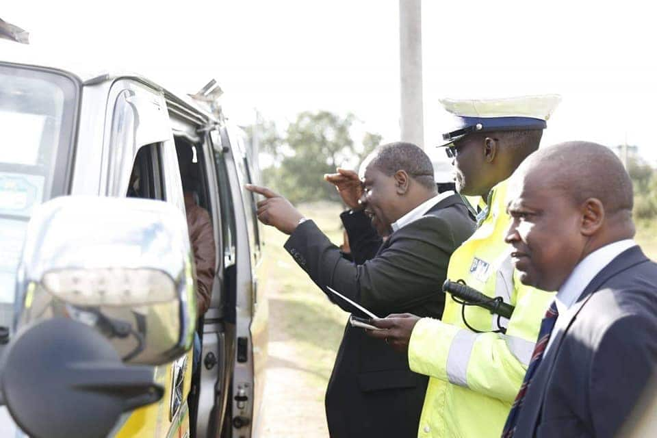 Interior CS Fred Matian'gi makes impromptu stop to oversee police officers implementing traffic rules