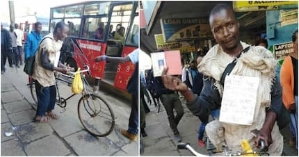 Man wearing rags pedals bicycle from Kisii to Nairobi in search of driver's job