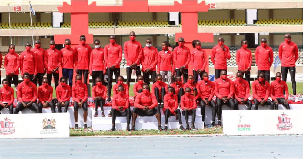 A section of Team Kenya athletes who took part in the 2020 Summer Games. Photo: Twitter/@AthletcsKenya.