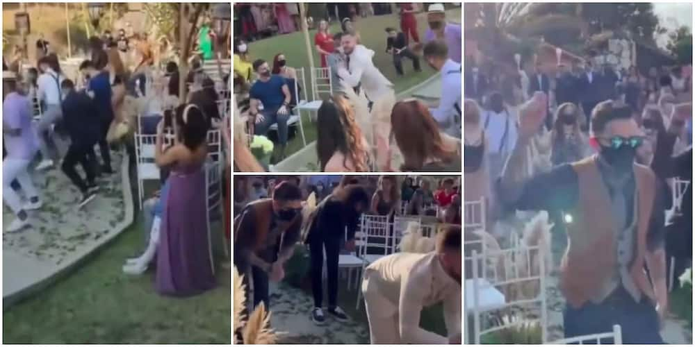 Video shows cute moment groom showed up at wedding service, dances with different guests.