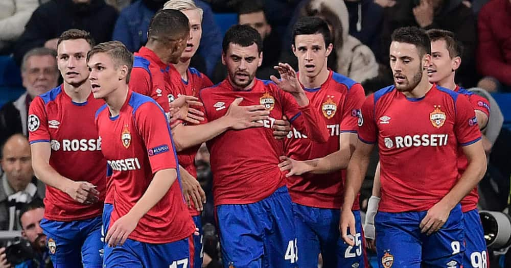 CSKA Moscow celebrate during the UEFA Champions League group G against Real Madrid at the Santiago Bernabeu stadium in Madrid on December 12, 2018. (Photo by JAVIER SORIANO / AFP).