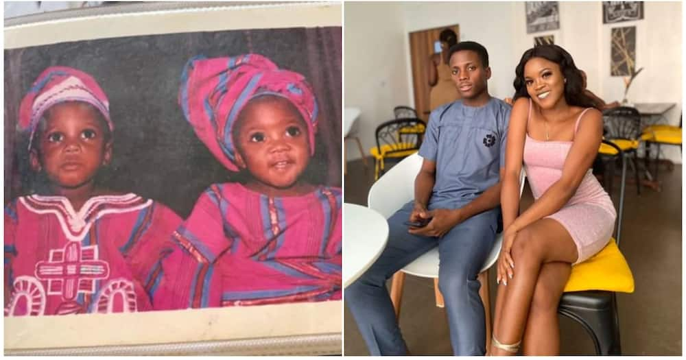 A tweep said both of them had the same expression in their throwback picture. Photo source: @Mosopefoluwa