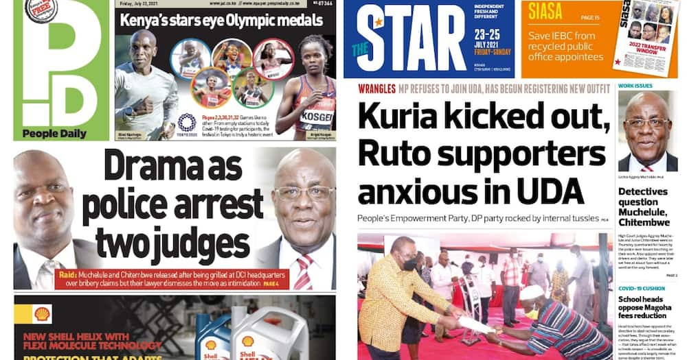 Kenyan Newspapers Review for July 23. Screengrabs from People Daily, The Star.