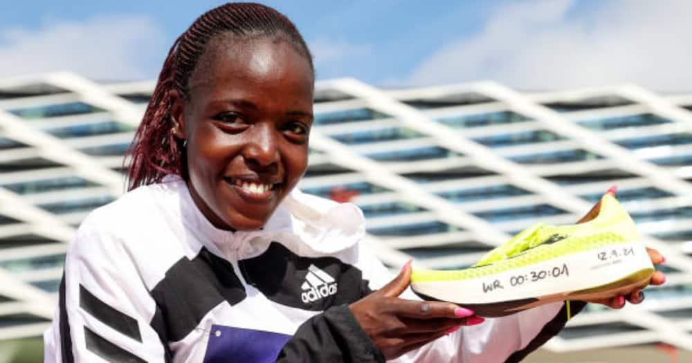 Agnes Tirop when she broke the 10km Adizero record.