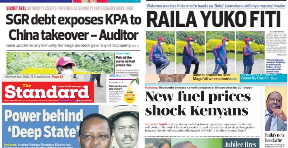 Newspapers review for March 15: Ida Odinga says family panicked when Raila tested positive for COVID-19