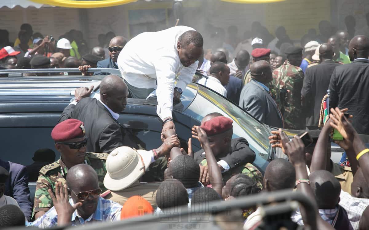 Jamaa wa Kisumu aupenya ulinzi mkali kumpokeza Uhuru picha ya mchoro