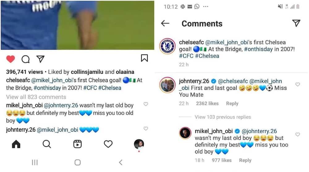 John Terry trolls former team-mate Mikel Obi over 1st goal for Chelsea
